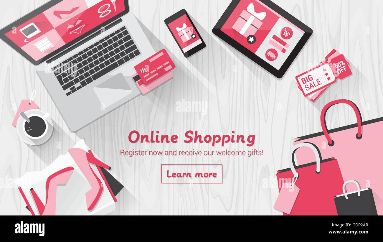 531fa9de Online shopping concept desktop with computer, table, shopping bags, credit  cards, coupons and products