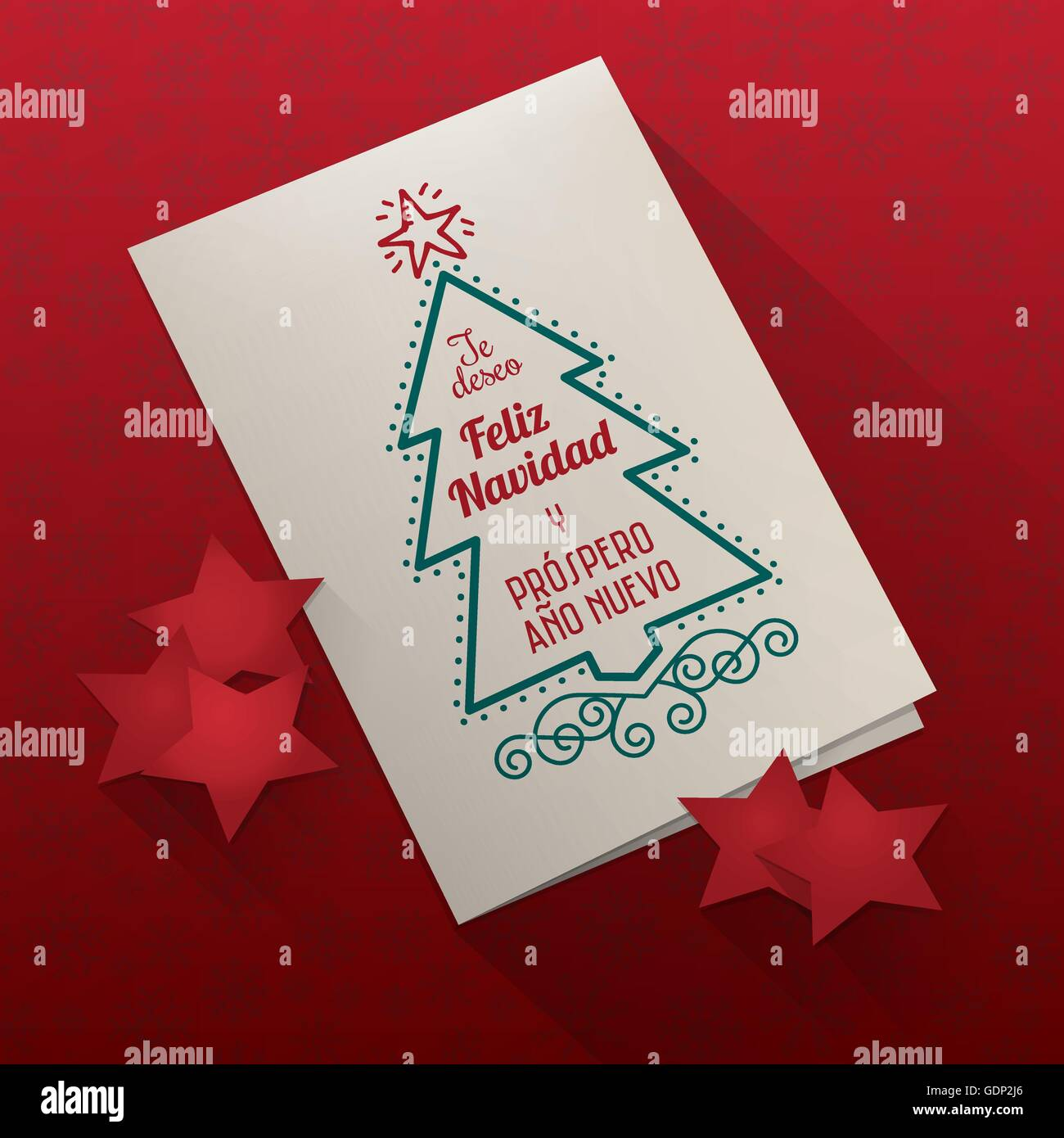 Vector Christmas card on red snowflakes texture background with paper stars - Stock Image
