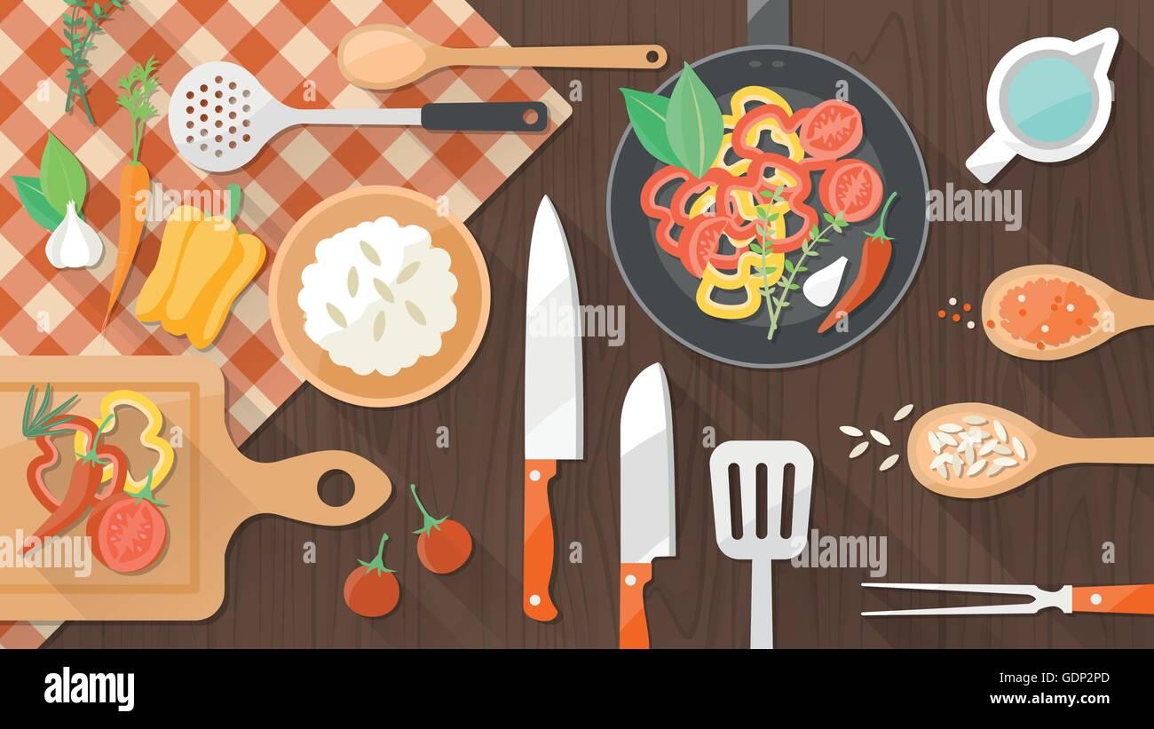 Cooking worktop in the kitchen, utensils and food, top  view - Stock Vector