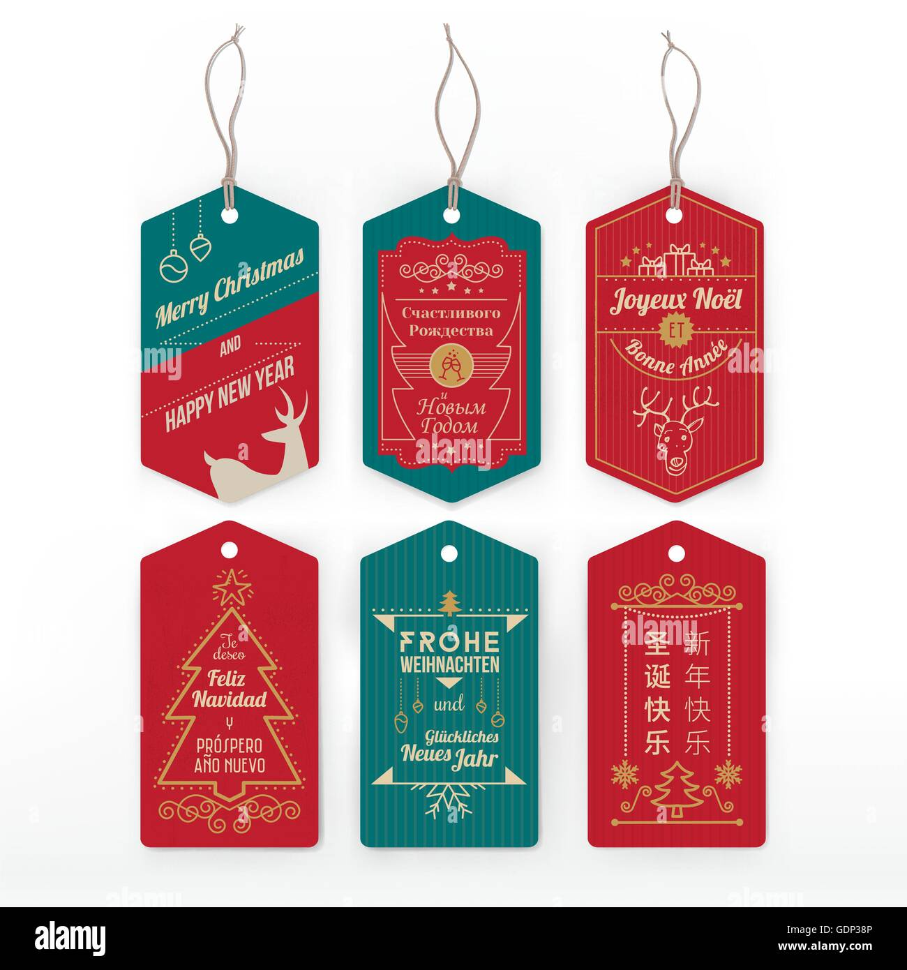 Vintage Labels And Tags With Stripes With Christmas Greeting In