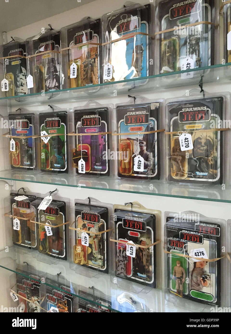 Some of the Star Wars figures which make up a large private collection of 700 items which are expected to bring in around £500,000 when they go under the hammer at Vectis Auctions in Thornaby, Teesside. Stock Photo