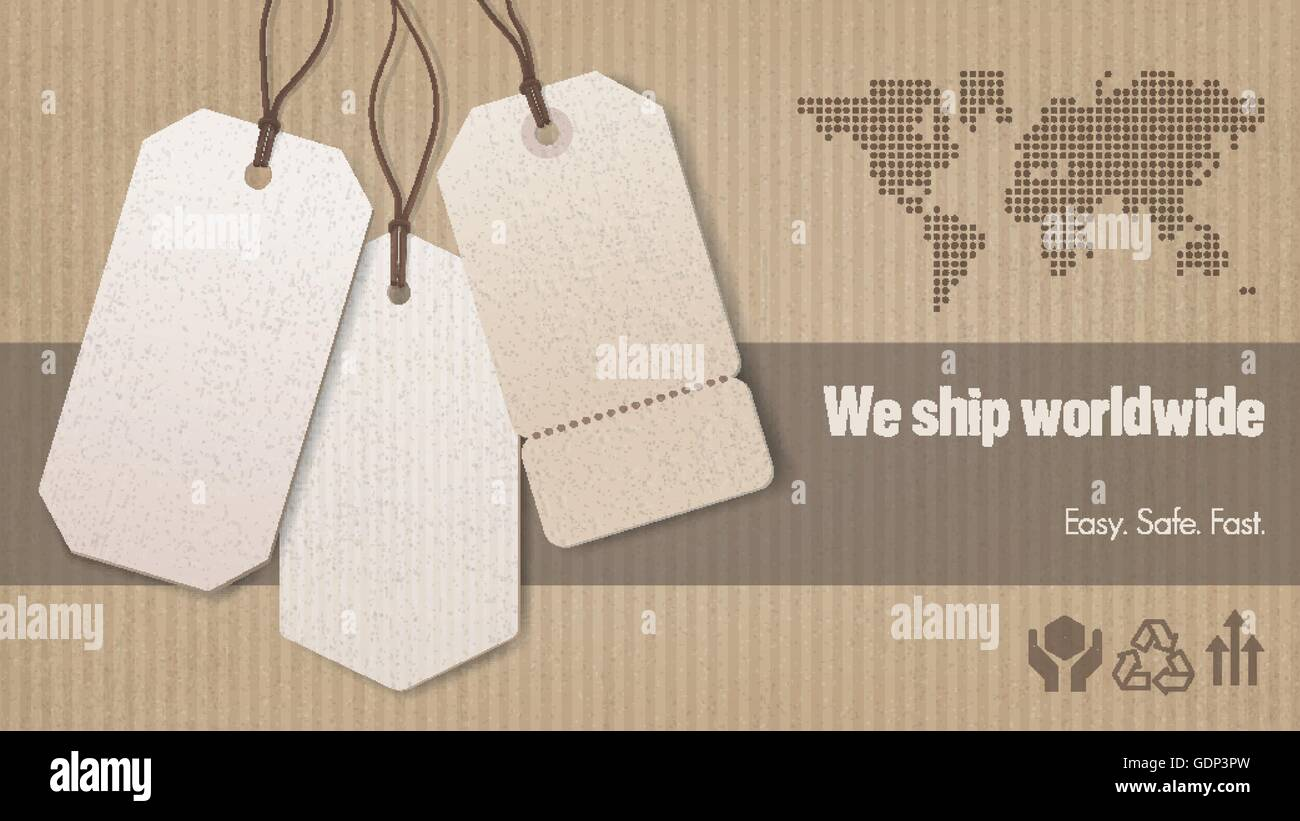 Worldwide shipping and sales banner with tags, carton box background and world map - Stock Vector