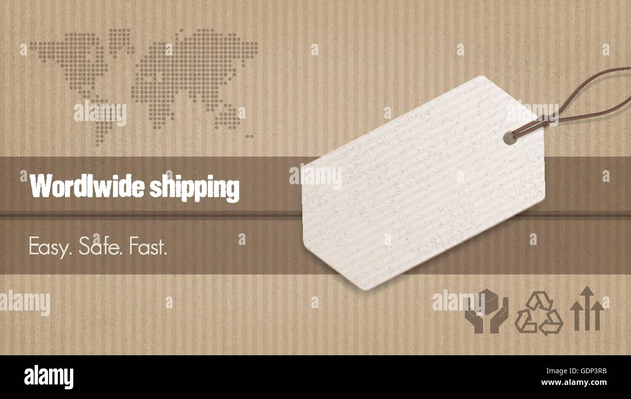 Worldwide shipping and sales banner with tag, carton box background and world map - Stock Vector