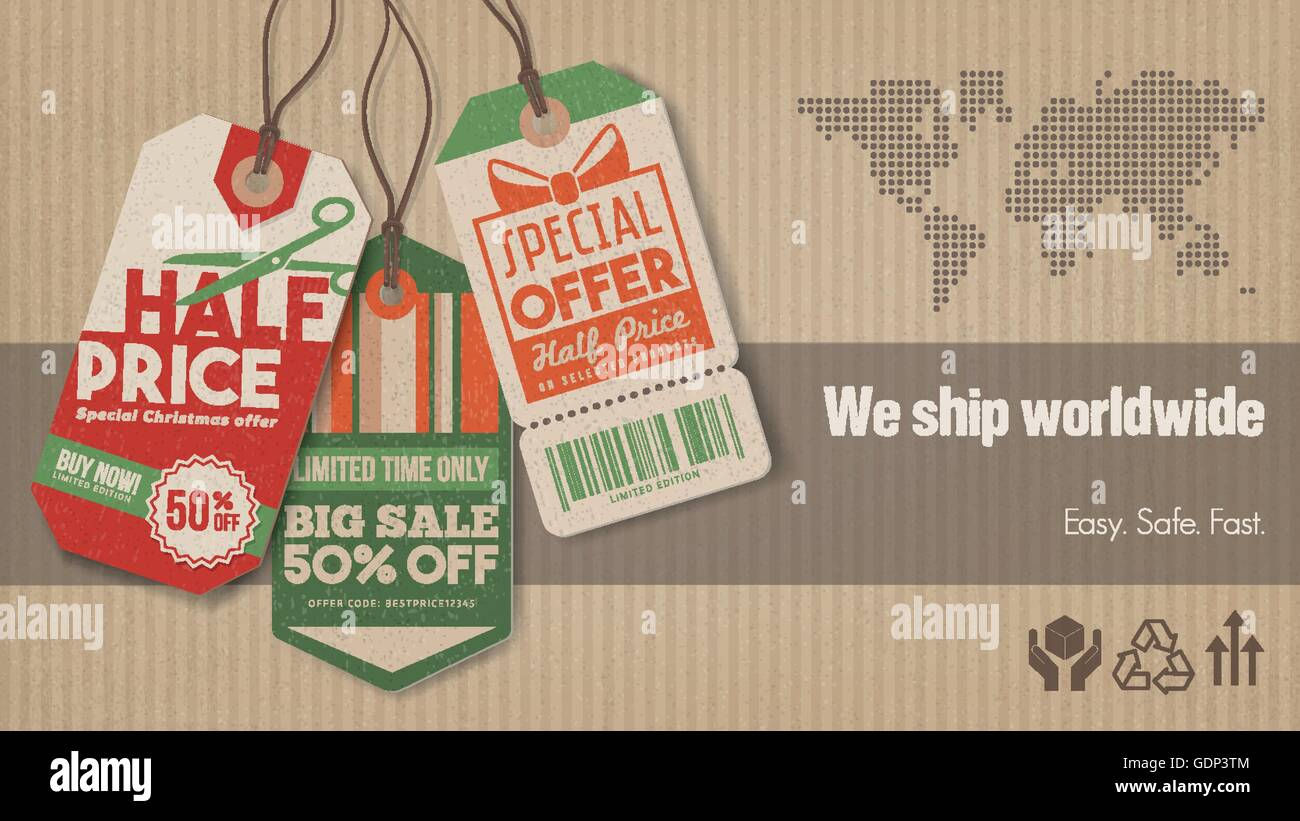Worldwide shipping and sales banner with vintage tags, carton box background and world map - Stock Vector