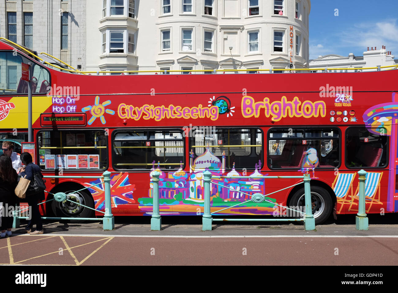 A city sightseeing bus in Brighton in the south of England. - Stock Image