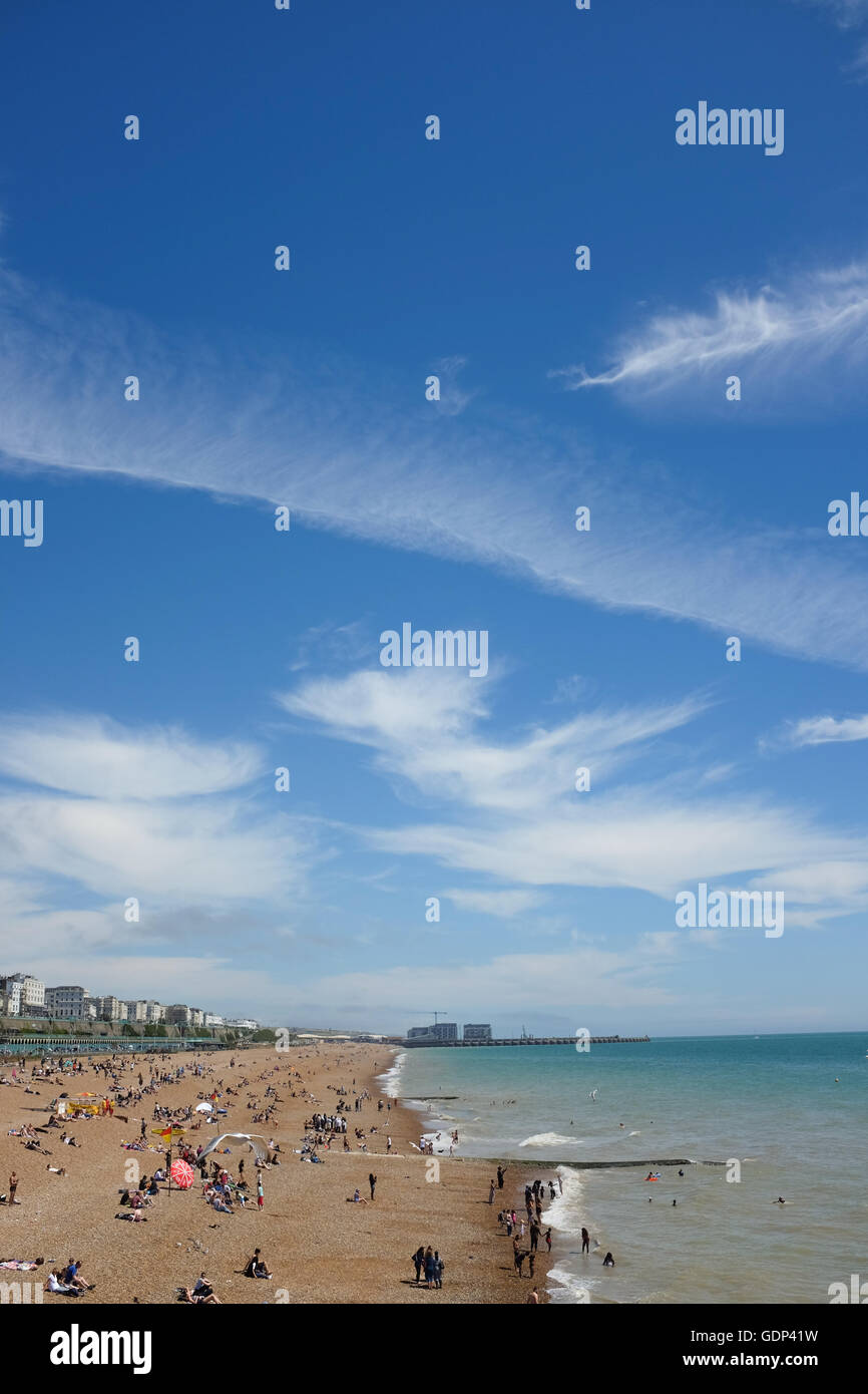 Looking east from Brighton's Palace Pier on the south coast of England. - Stock Image