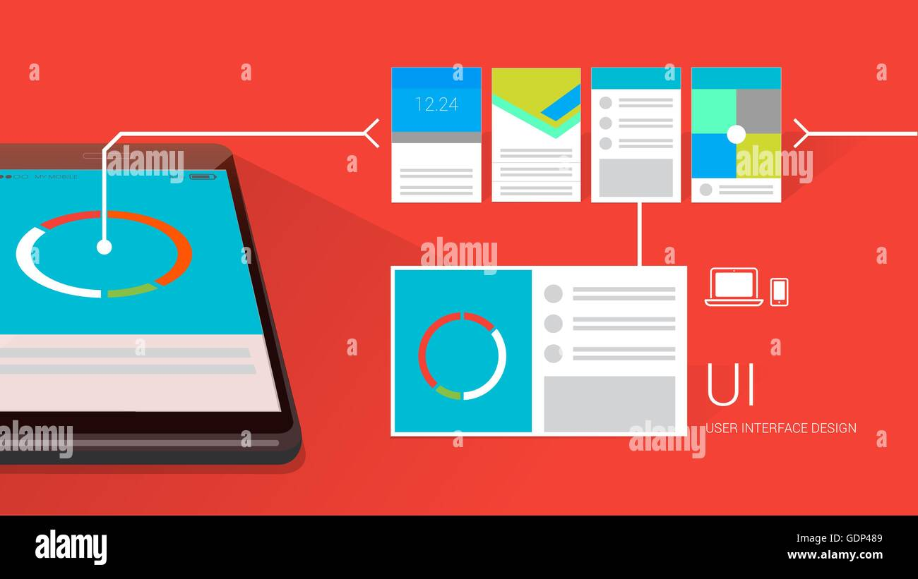 User interface design with mobile and layouts - Stock Image