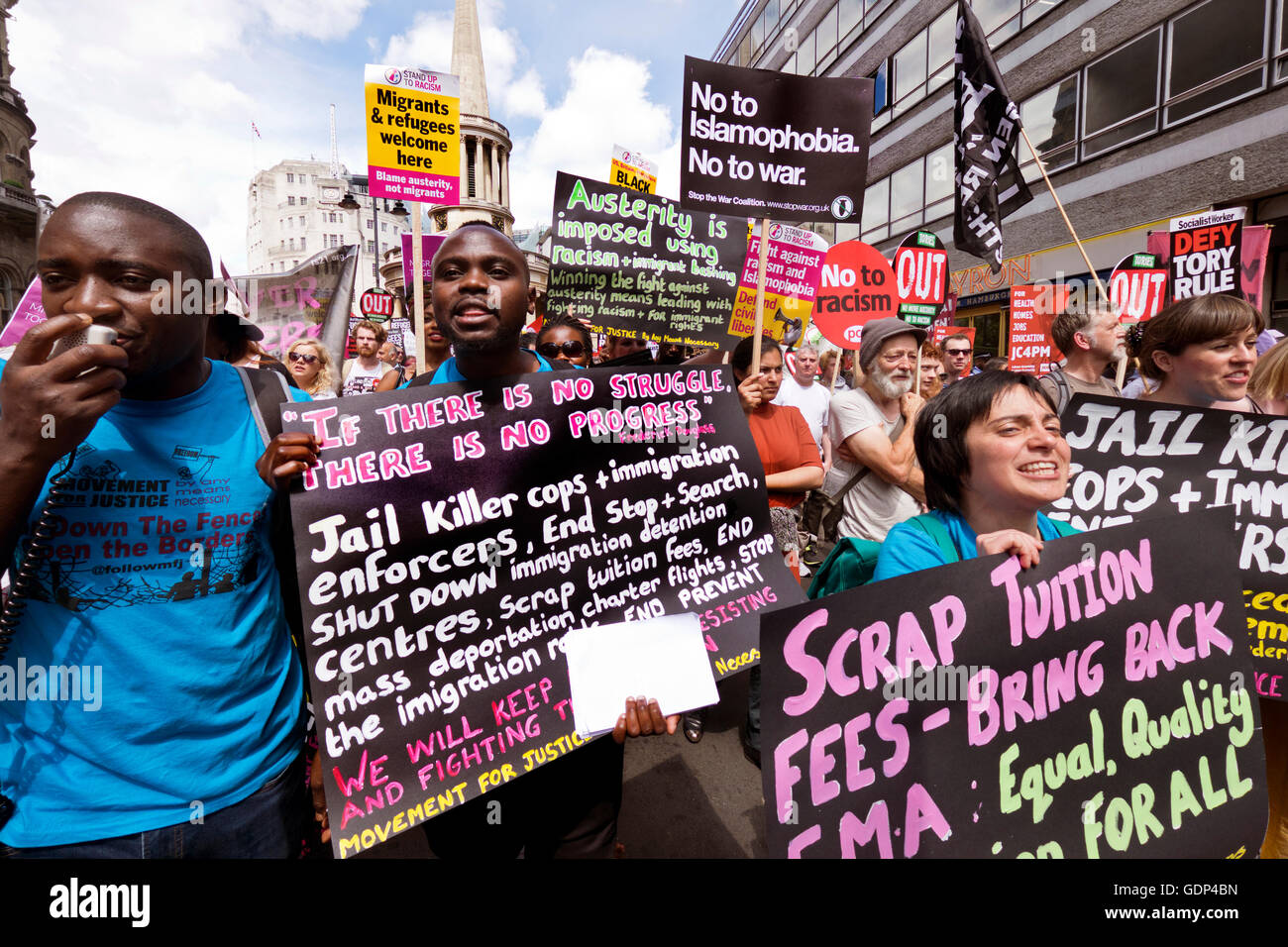 Shut down  Refugee detention Centres. Movement for Justice by any means necessary. Protest in London against racism - Stock Image