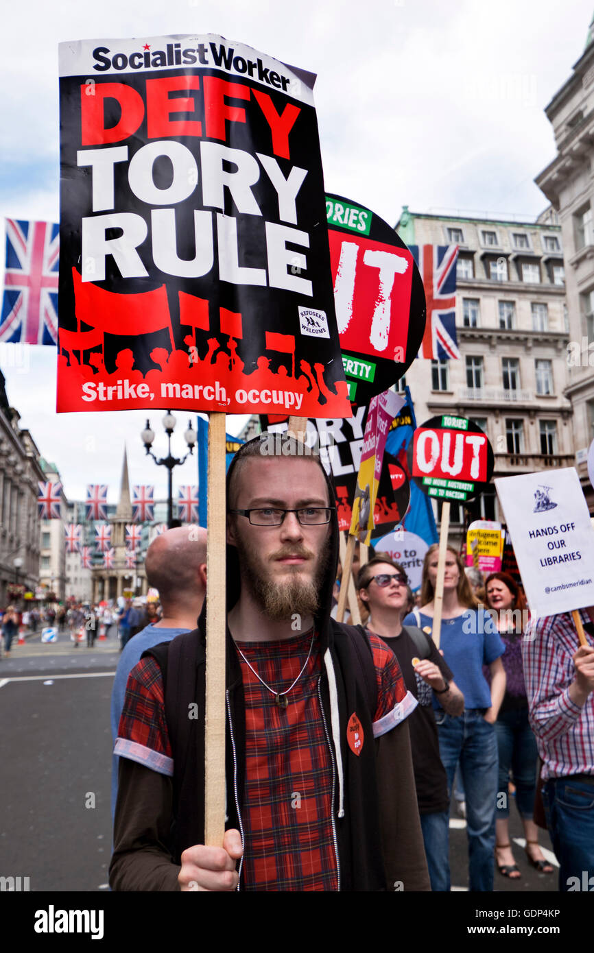 protest Rally and march through Central London against racism and Tory austerity measures - Stock Image
