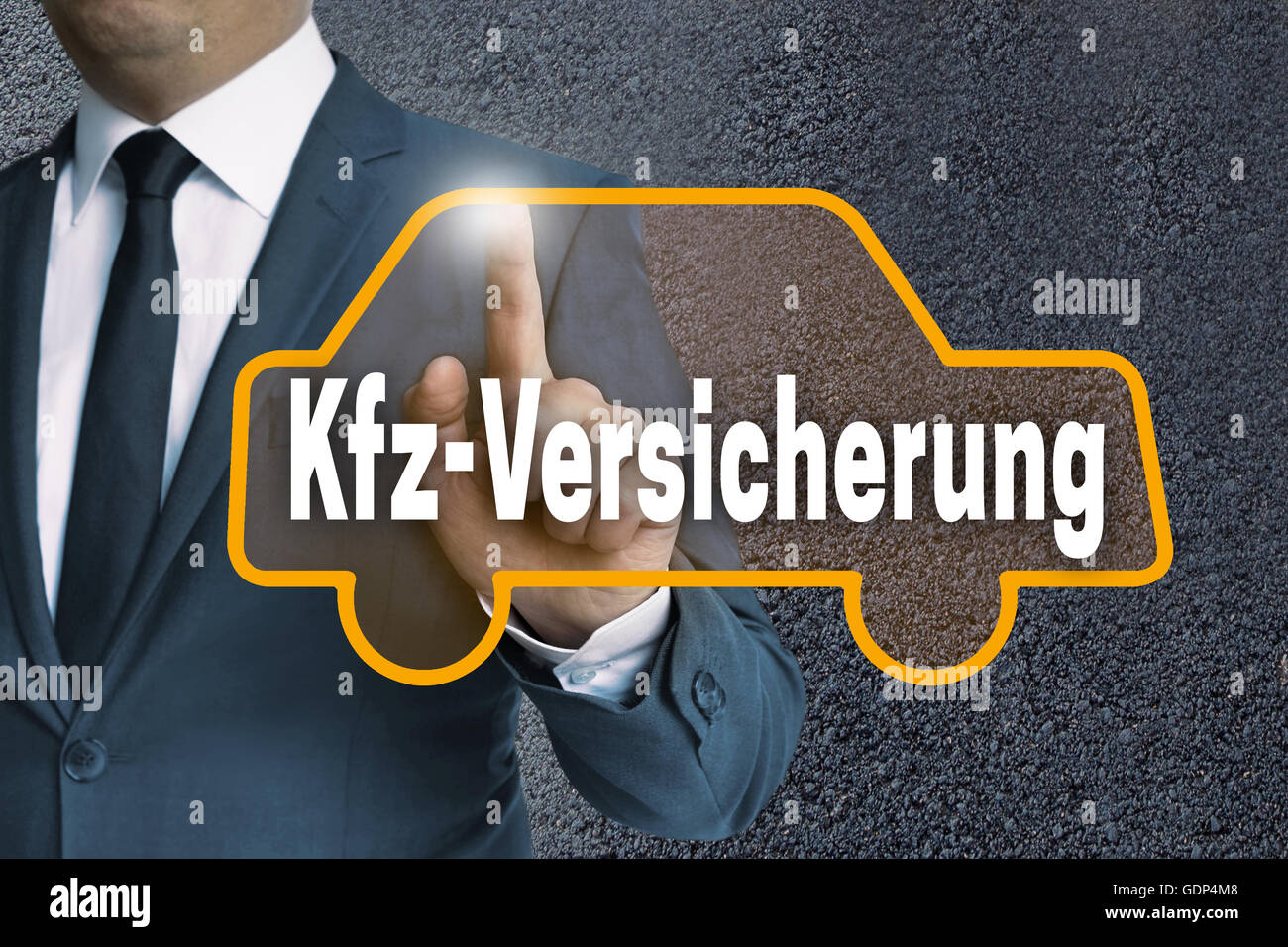 kfz versicherung (in german car insurance) auto touchscreen is operated by businessman concept. - Stock Image