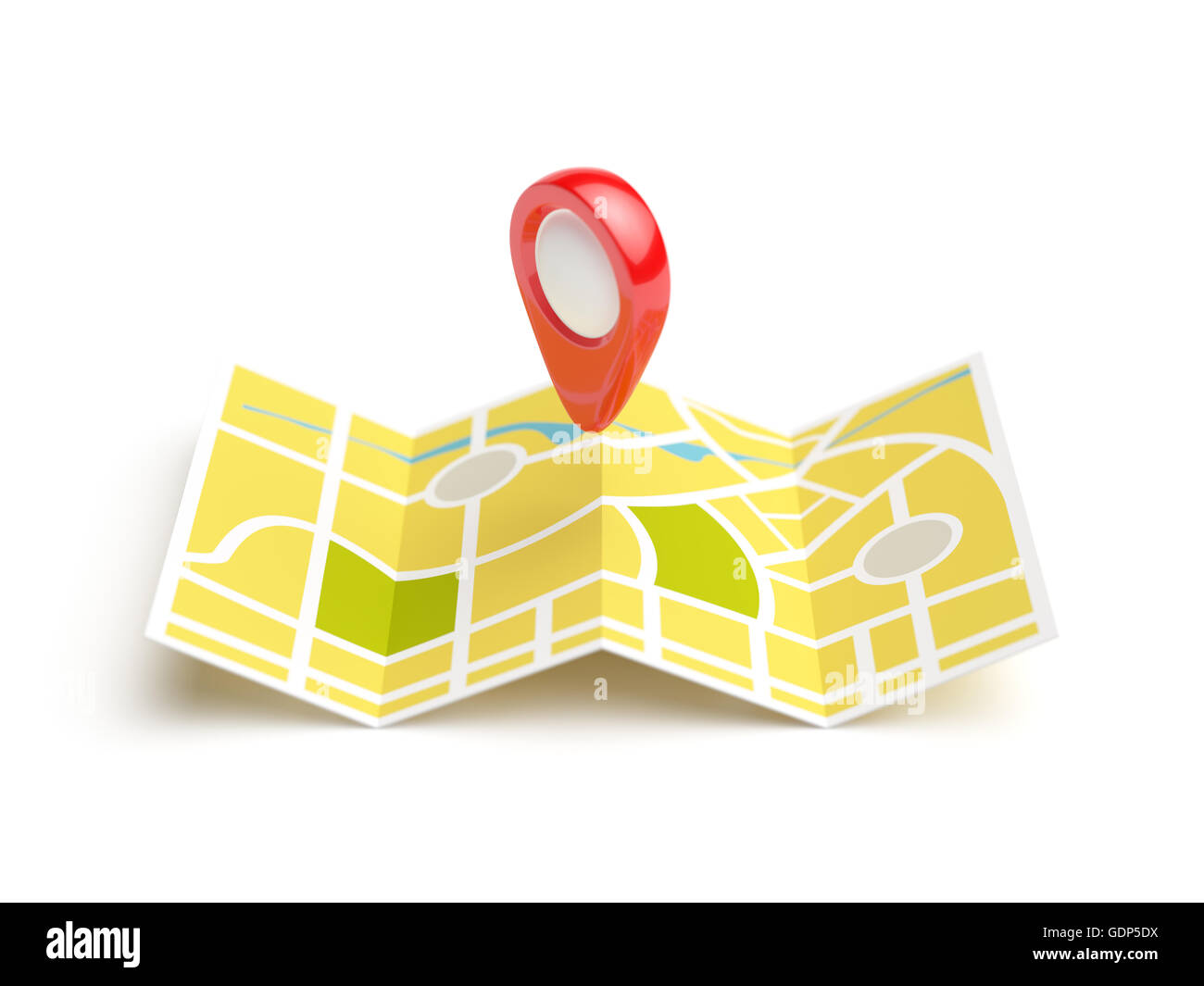 Navigation map with red position pin. Travel concept. Isolated 3d rendering illustration on white background - Stock Image