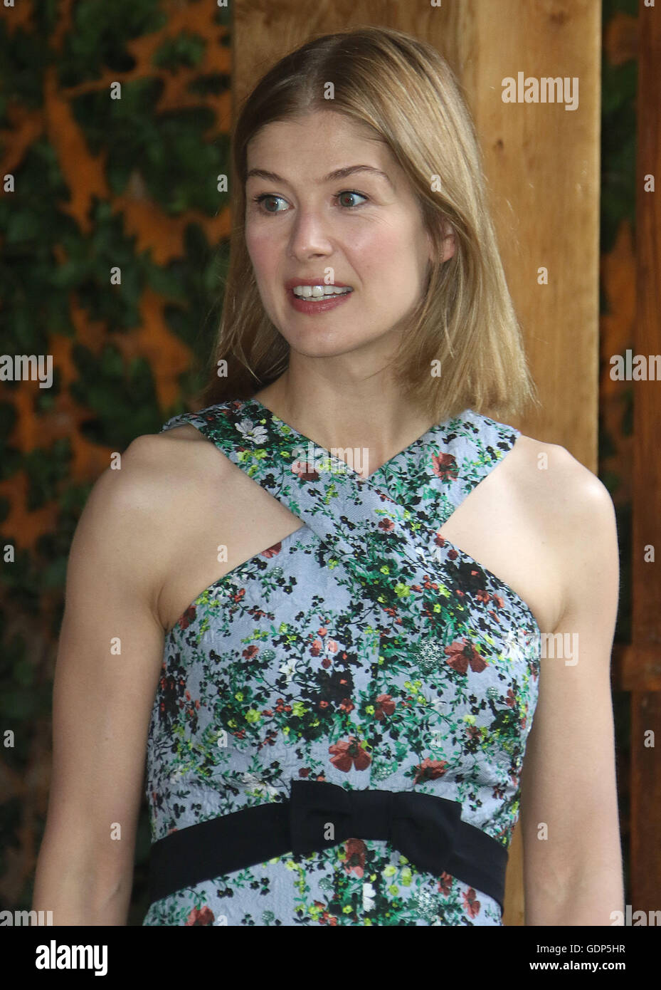 May 23, 2016 - Rosamund Pike at Chelsea Flower Show 2016 in London, UK. Stock Photo