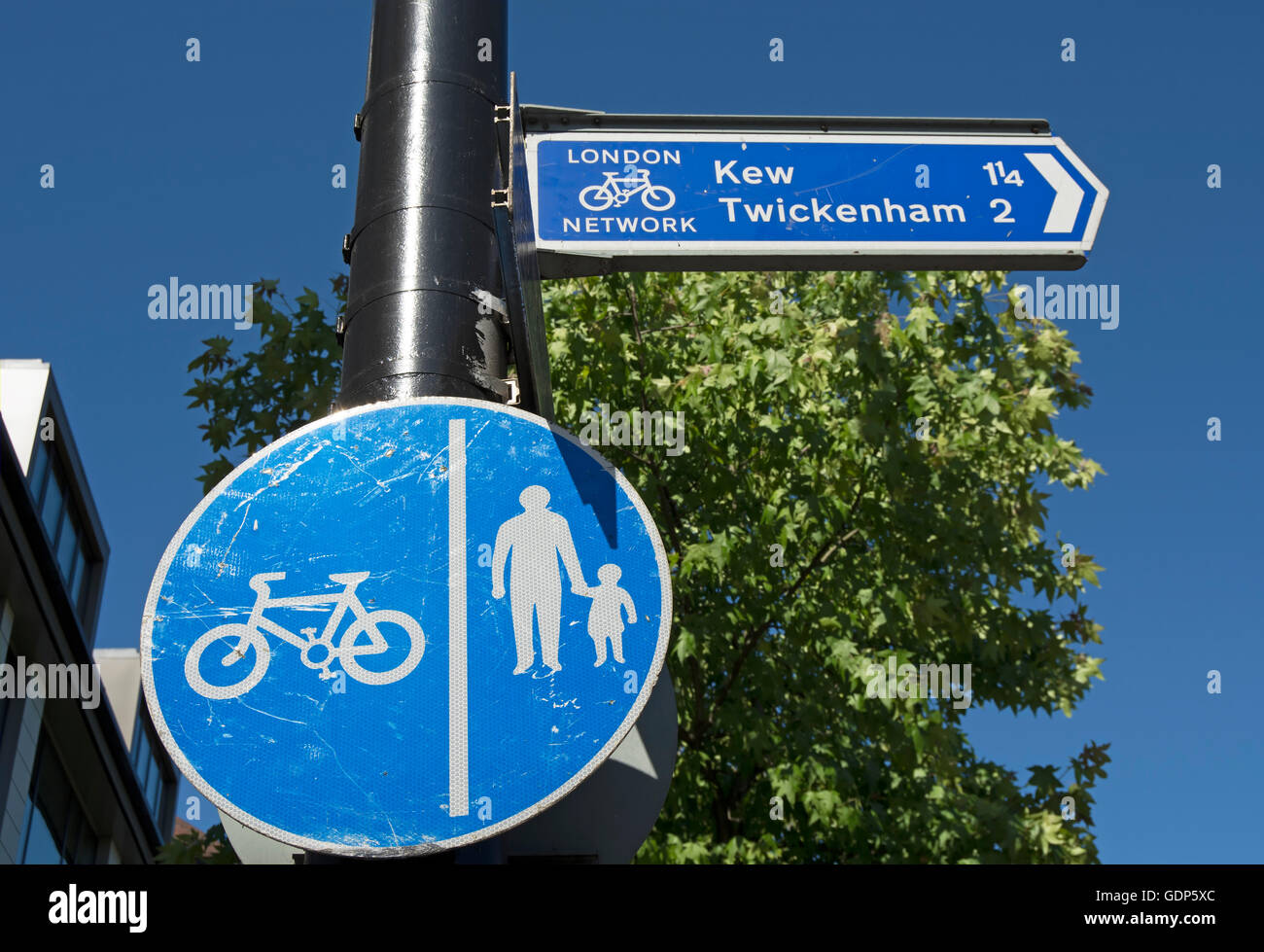 cyclist and pedestrian segregated  lanes sign and cycle route sign giving directions to kew and twickenham, in richmond, - Stock Image