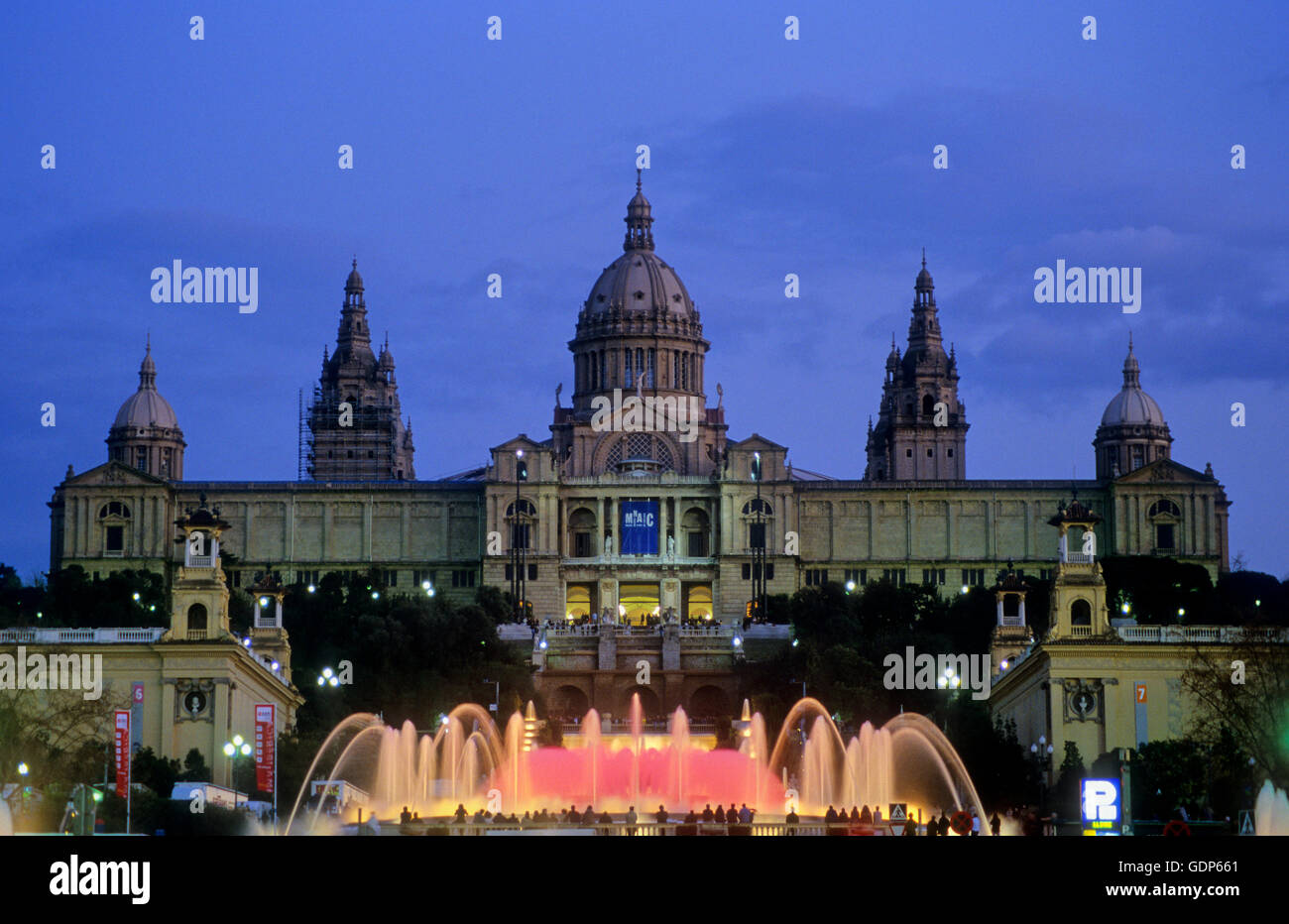 MNAC (National Art Museum of Catalonia) and fountains, Montjuic, Barcelona, Spain - Stock Image