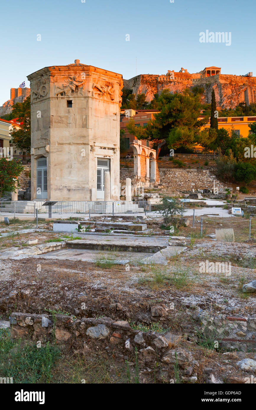 Remains of the Roman Agora, Tower of Winds and Acropolis in Athens, Greece. - Stock Image