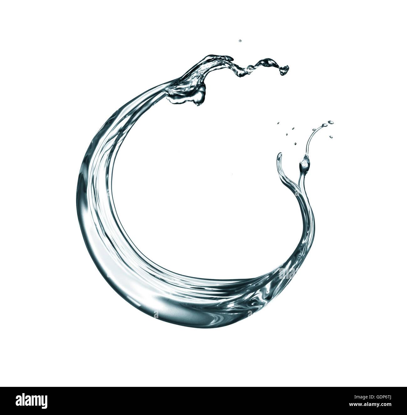 Transparent liquid swirling against white background - Stock Image