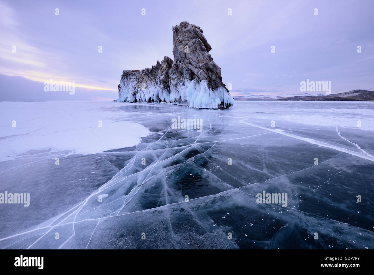 View of Ogoy Island on frozen Baikal Lake, Olkhon Island, Siberia, Russia - Stock Image
