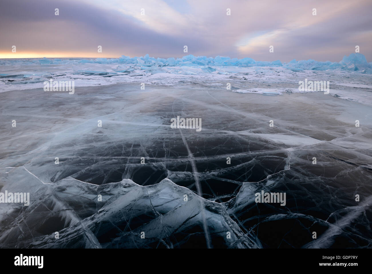 Patterned ice, Baikal Lake, Olkhon Island, Siberia, Russia - Stock Image