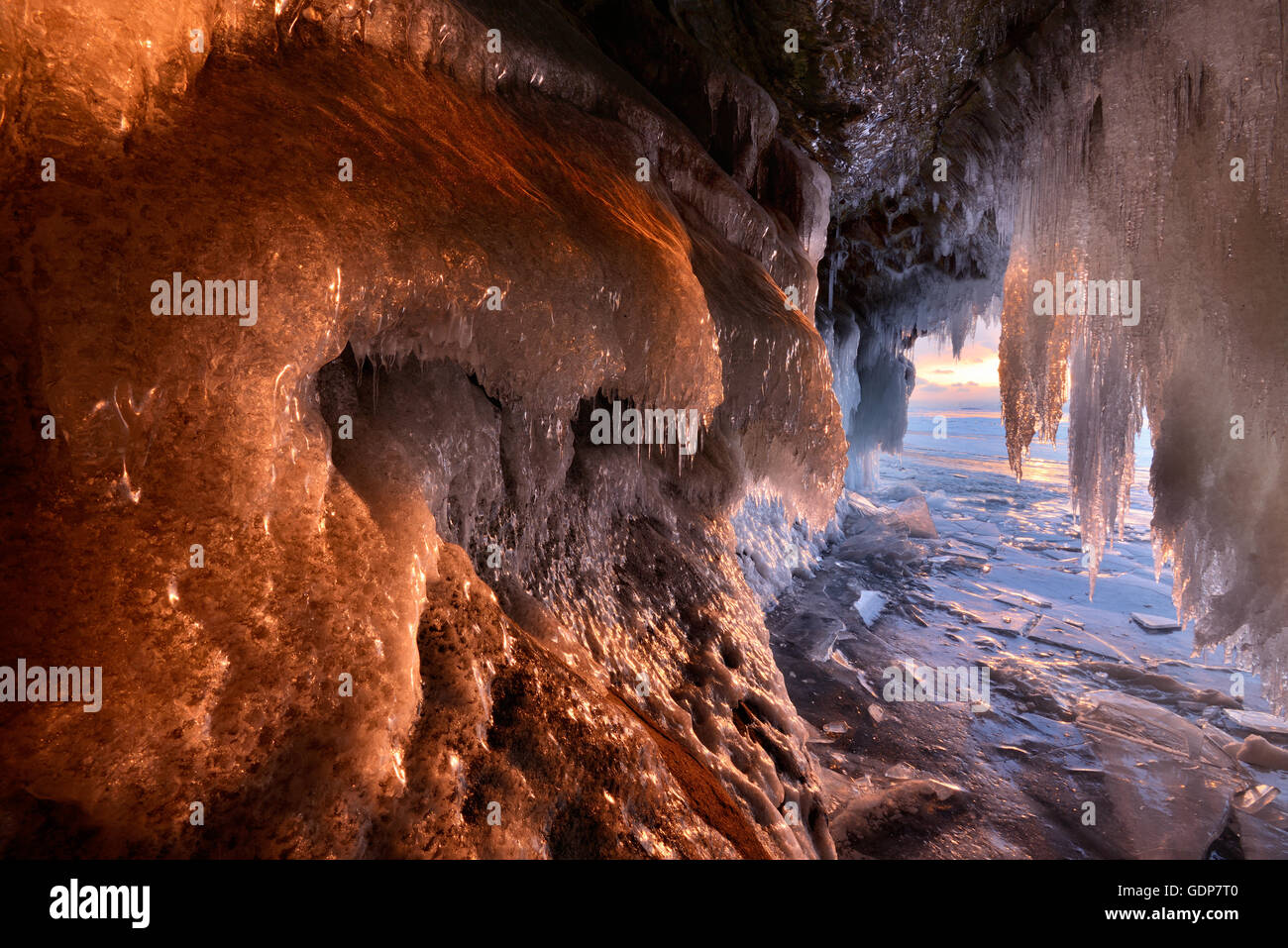 Kharantsy ice caves at sunset, Baikal Lake, Olkhon Island, Siberia, Russia - Stock Image