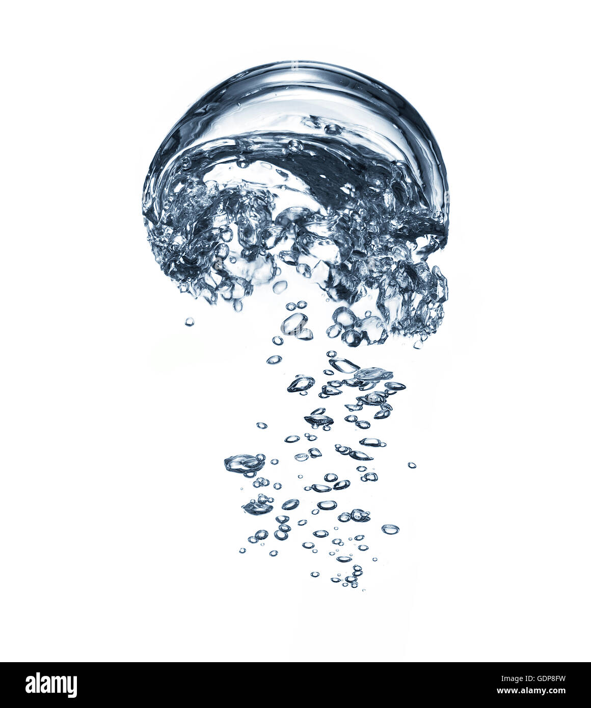 Transparent liquid and bubbles rising against white background - Stock Image