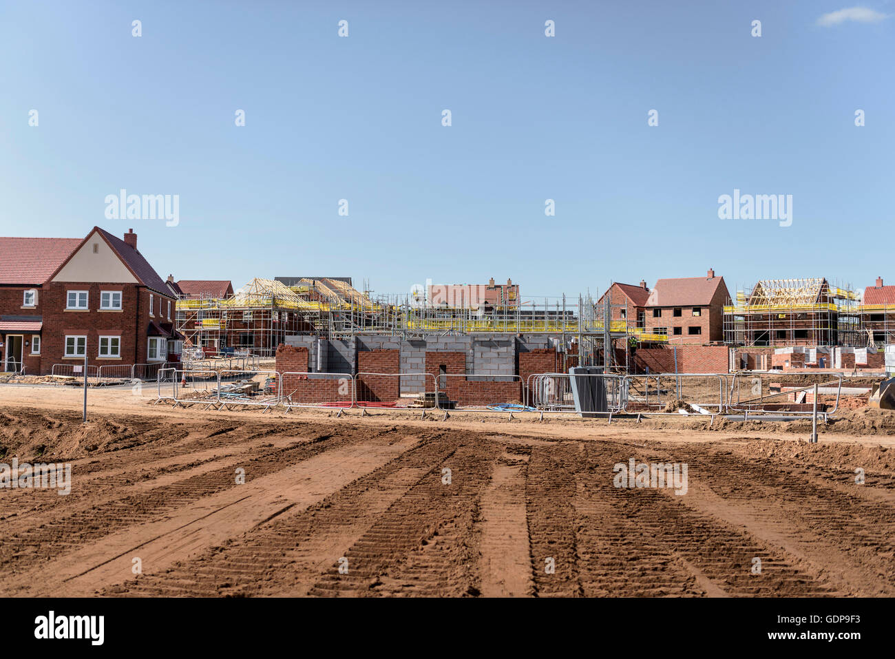 View of housing development on building site - Stock Image