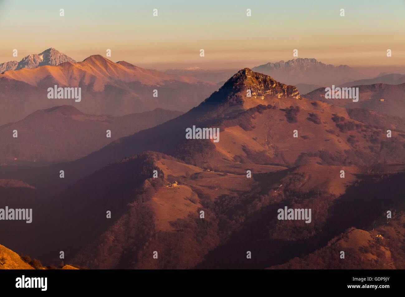 Elevated view of mountains at dusk, Monte Generoso,Ticino, Switzerland - Stock Image