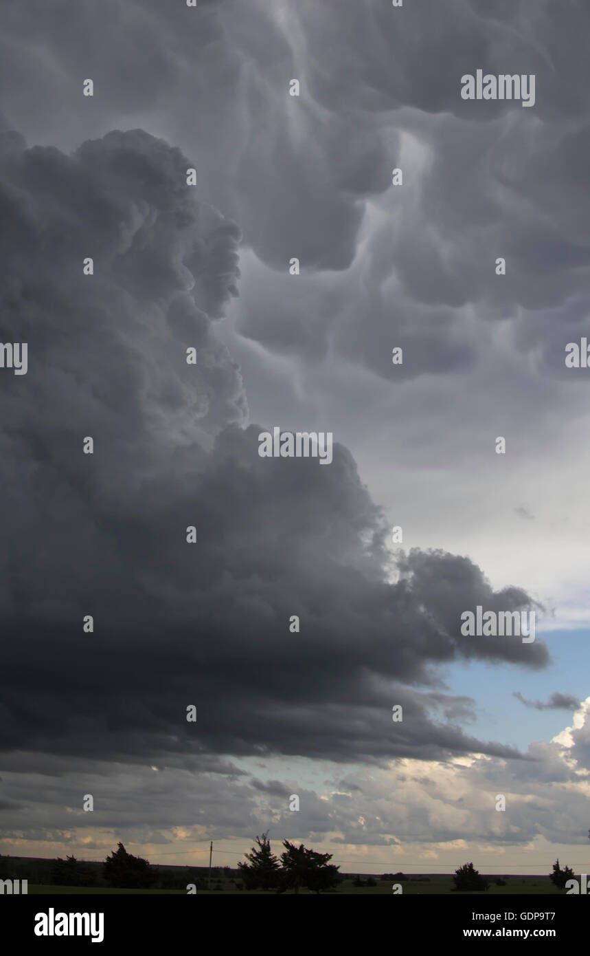 Agitated mammatus clouds rise up behind dark sky - Stock Image