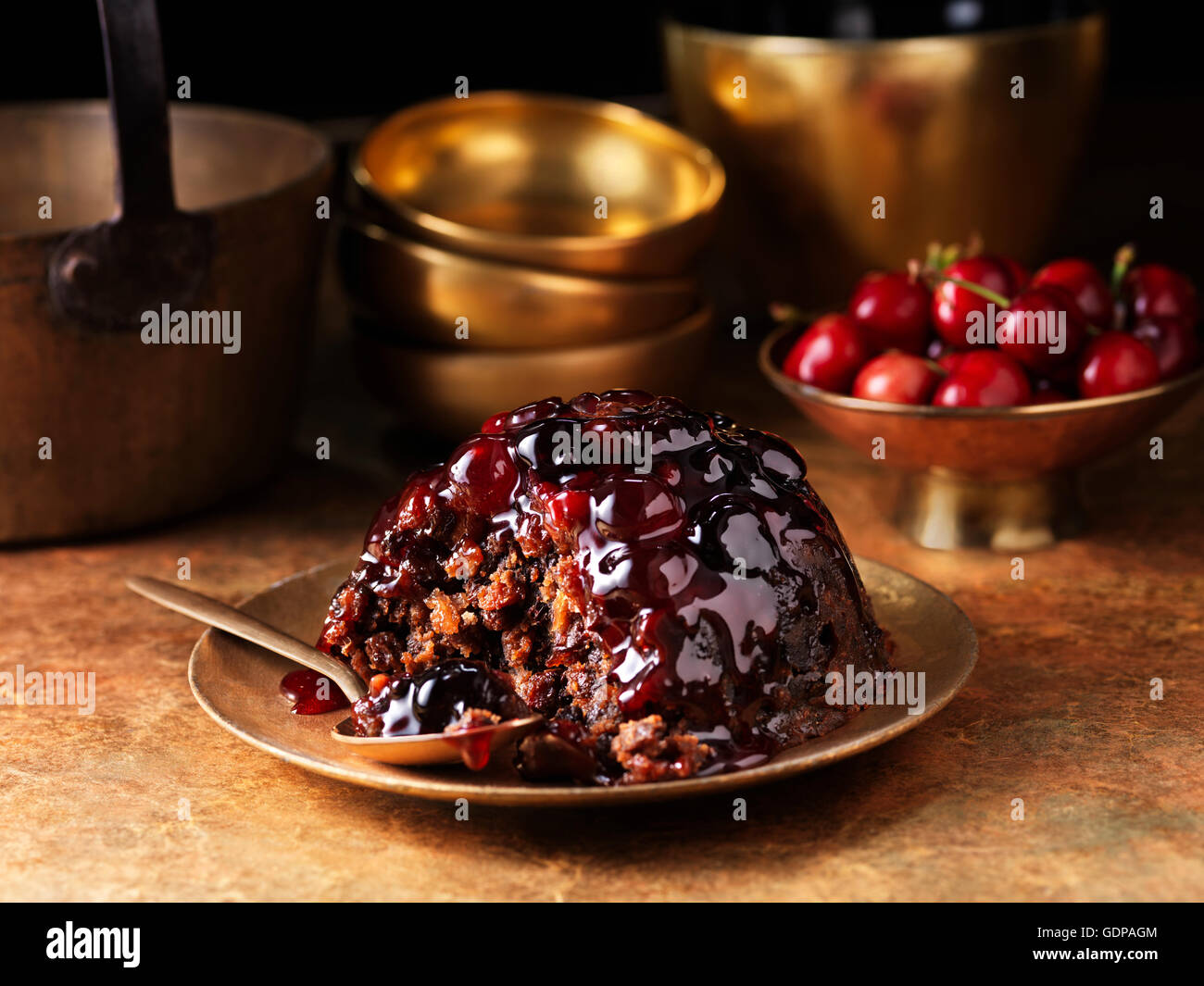 Black forest christmas pudding - Stock Image