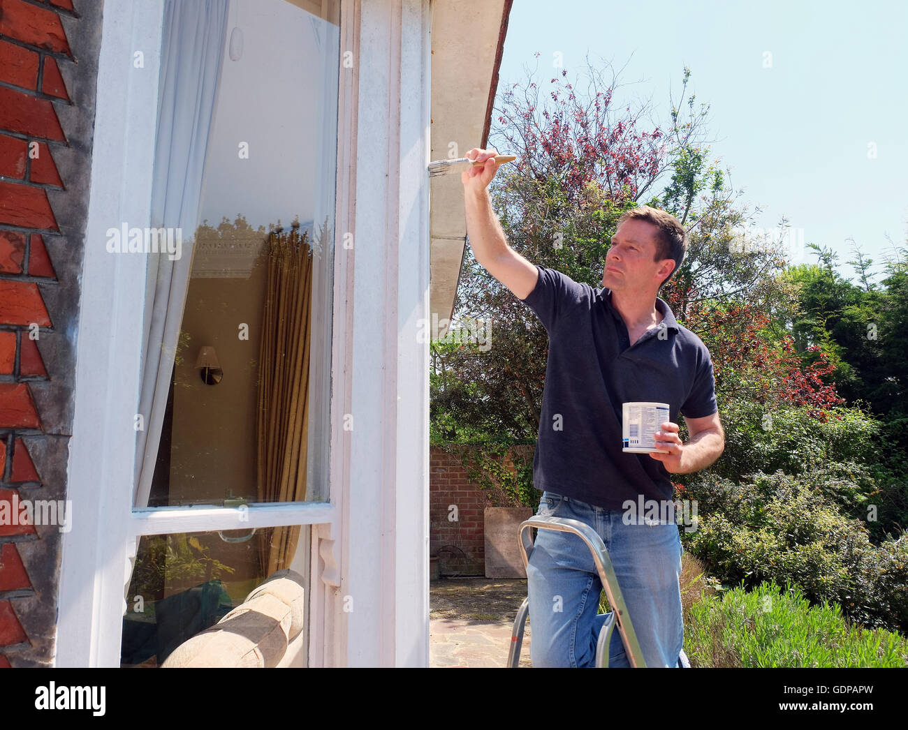 Man on ladder painting window frame Stock Photo: 111744161 - Alamy