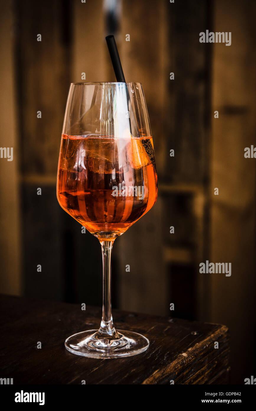 Glass of Aperol spritz drink - Stock Image