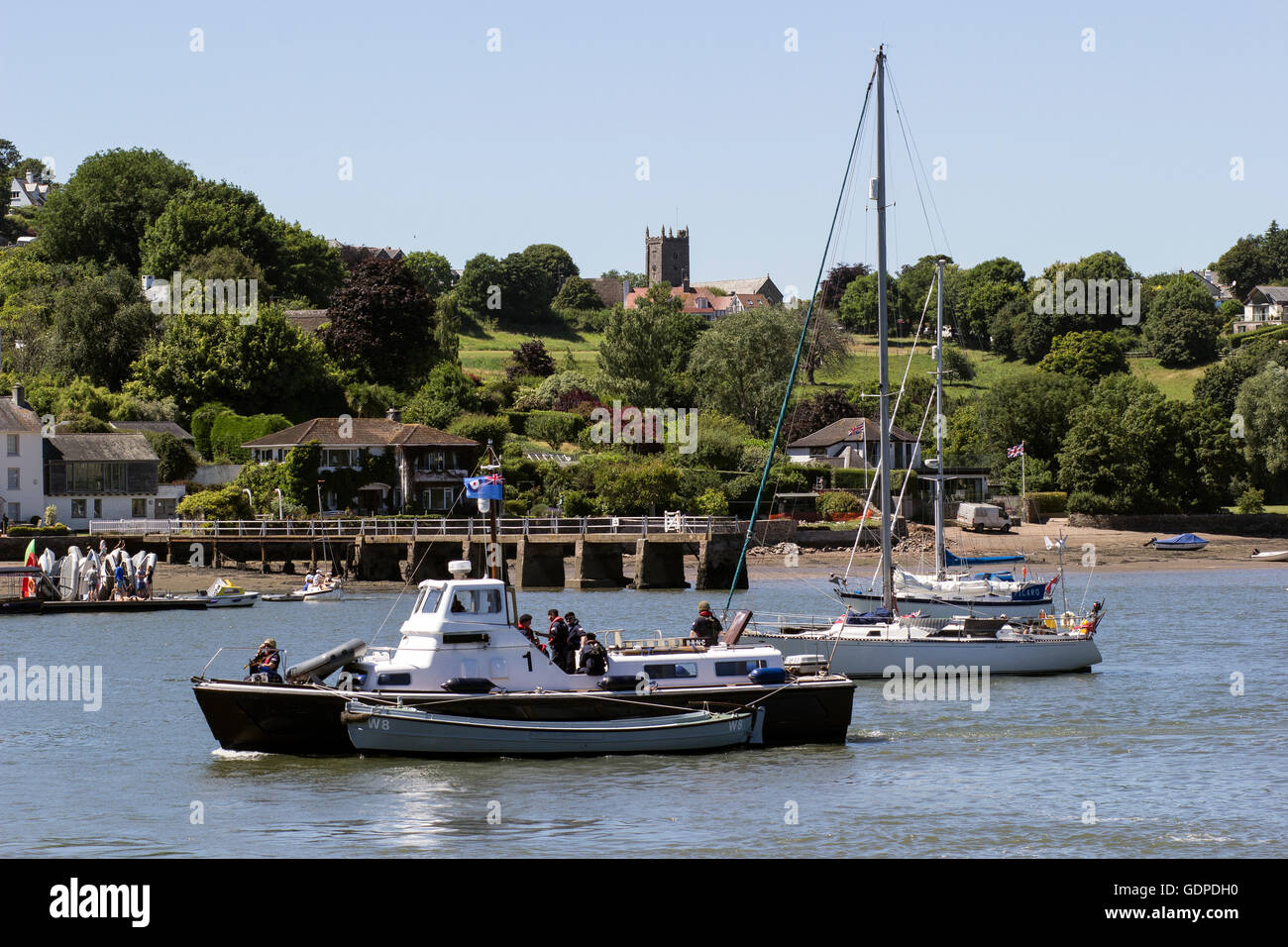 view from Greenway Quay of naval vessel on the River Dart ,devon, dittisham, uk, river, waterfront, summer, ditsum, - Stock Image