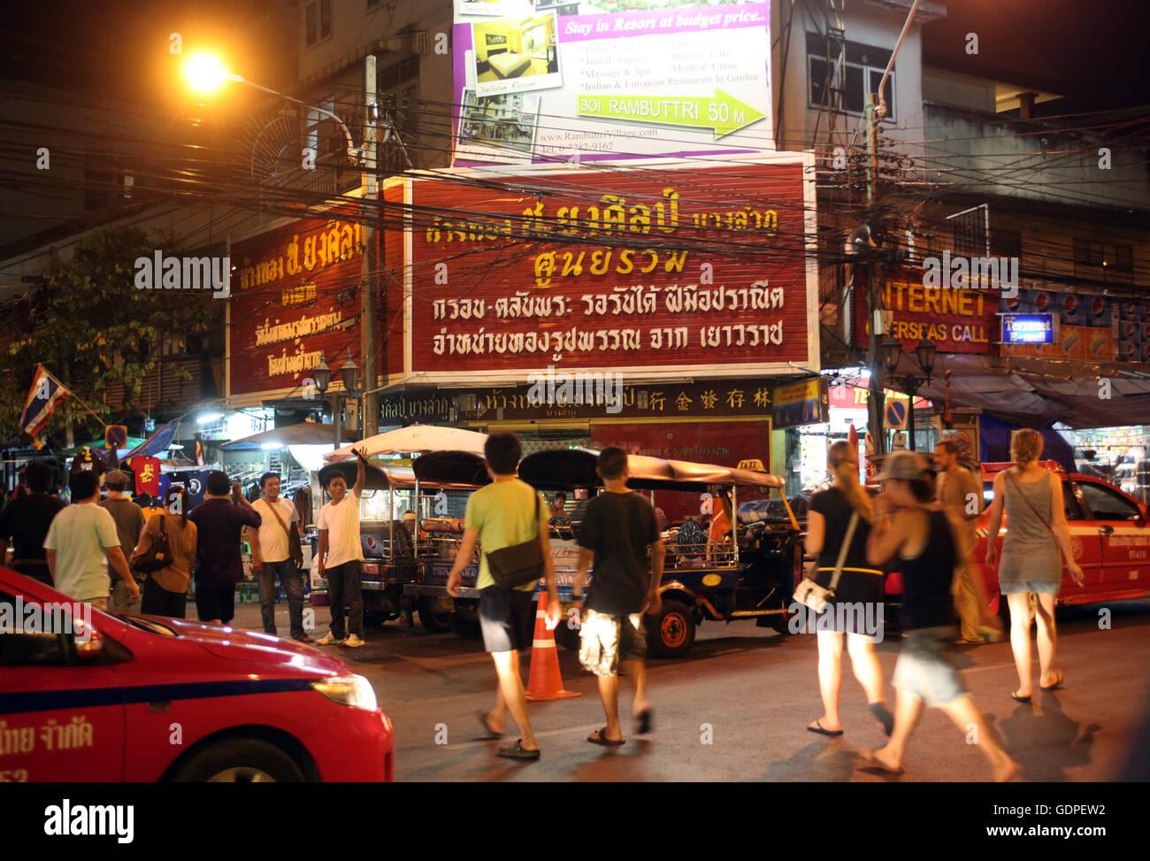 Ein Strassenecken im Stadtteil Banglampoo im Historischen Zentrum der Hauptstadt Bangkok in Thailand. - Stock Image