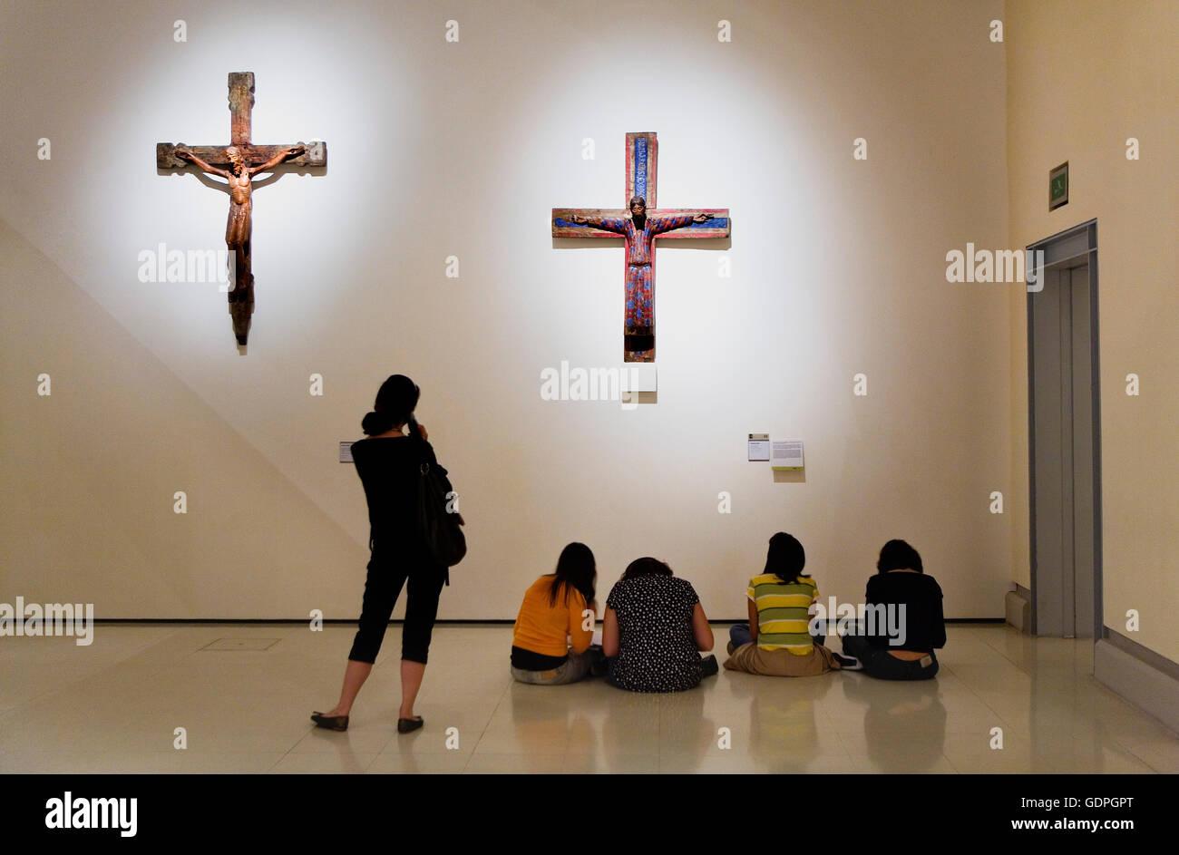 Barcelona: MNAC (National Art Museum of Catalonia). Montjuic.Romanesque sculptures - Stock Image