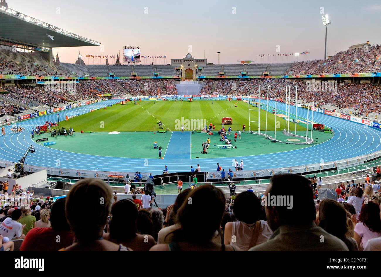 Olympic stadium (Estadi Olímpic Lluís Companys) Montjuic, Barcelona, Spain, Europe - Stock Image