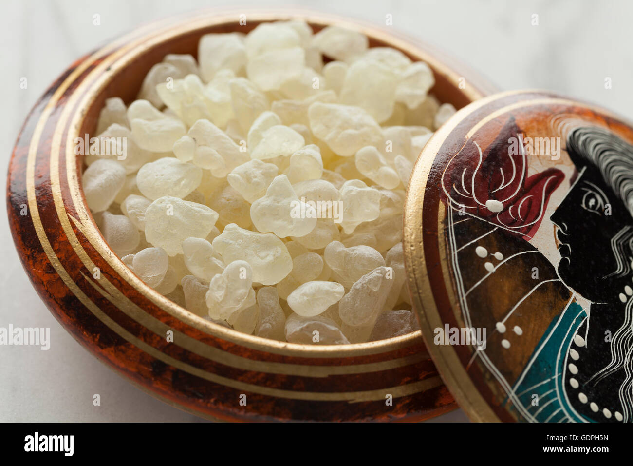Mastic tears of Chios in a Greek bowl - Stock Image