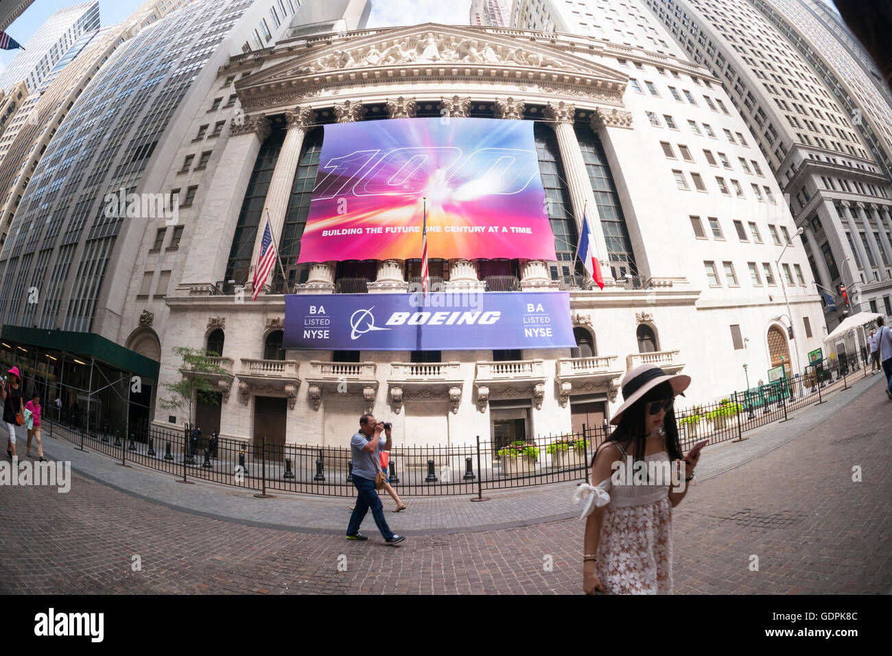 A banner for the Boeing Company decorates the front of the New York Stock Exchange in New York on Friday, July 15, - Stock Image