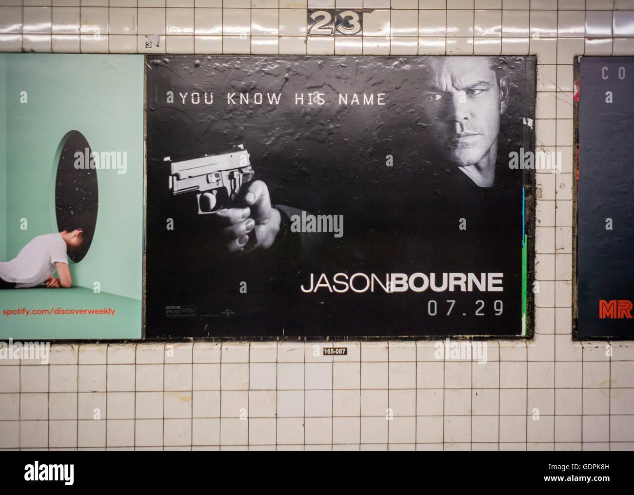 Advertising for the summer blockbuster hit 'Jason Bourne' starring Matt Damon in the New York subway on - Stock Image