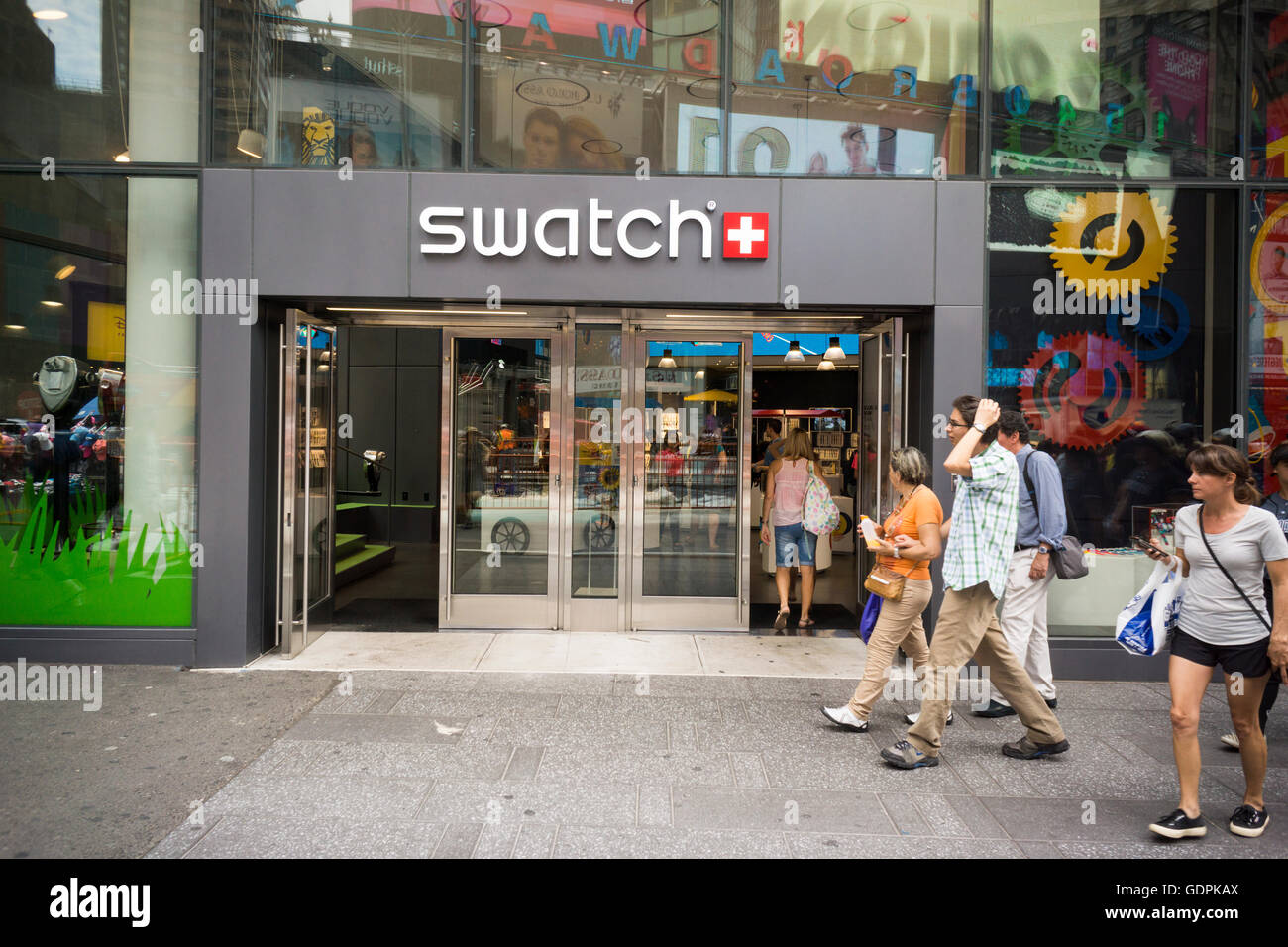 The Swatch store in Times Square in New York on Friday, July 15, 2016. The Swatch Group AG announced that during - Stock Image