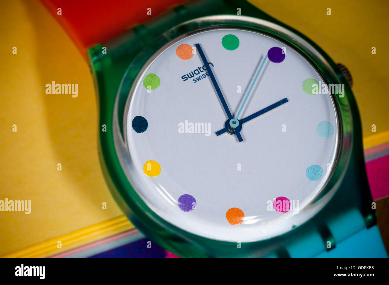 A Swatch brand watch in New York on Friday, July 15, 2016. The Swatch Group AG announced that during the first half - Stock Image