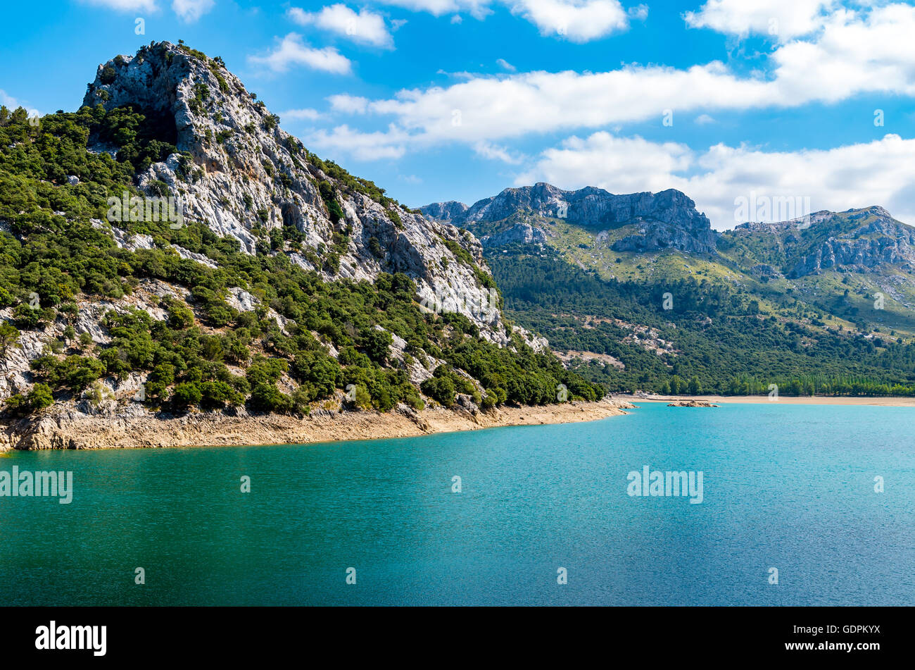 beautiful mountain lake Panta de Gorg Blau, Mallorca, Spain - Stock Image