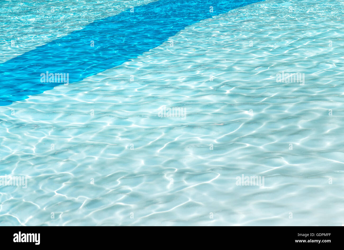 clear  swimming pool background with sun reflection ripples in a two tone blue solid curve patten, darker strip - Stock Image