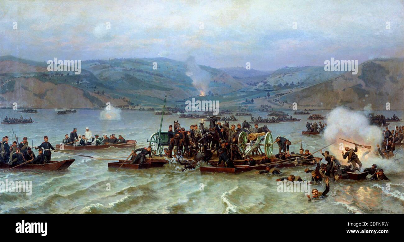 Crossing of the Russian army over the Danube at Zimnicea/Svishtov June 15, 1877  Nikolai Dmitriev-Orenburgsky  1883 - Stock Image