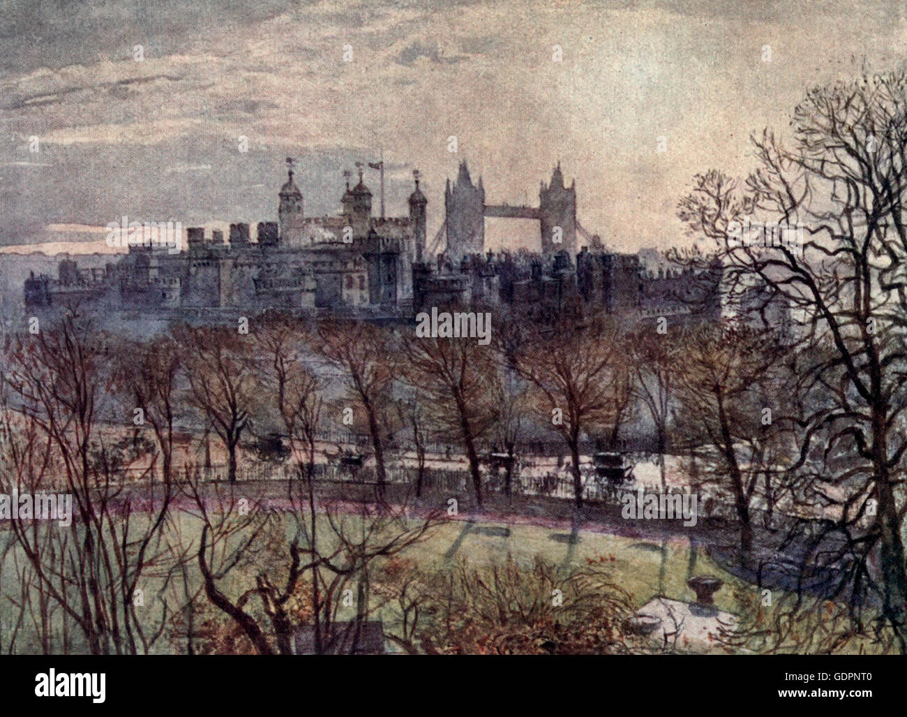 The Tower and Tower Hill, Showing site of the scaffold, in the garden. Tower of London, circa 1908 - Stock Image