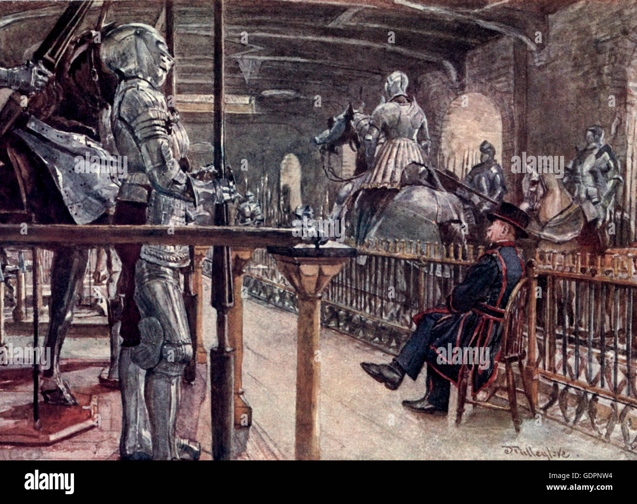 Portion of the Armoury - White Tower - Tower of London, circa 1908 - Stock Image