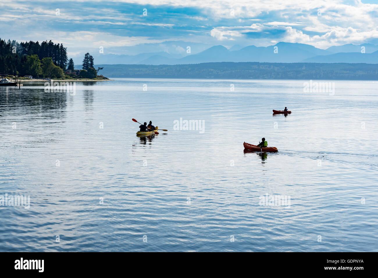 Kayaking at Hood Canal near Kitsap Memorial State Park - Stock Image
