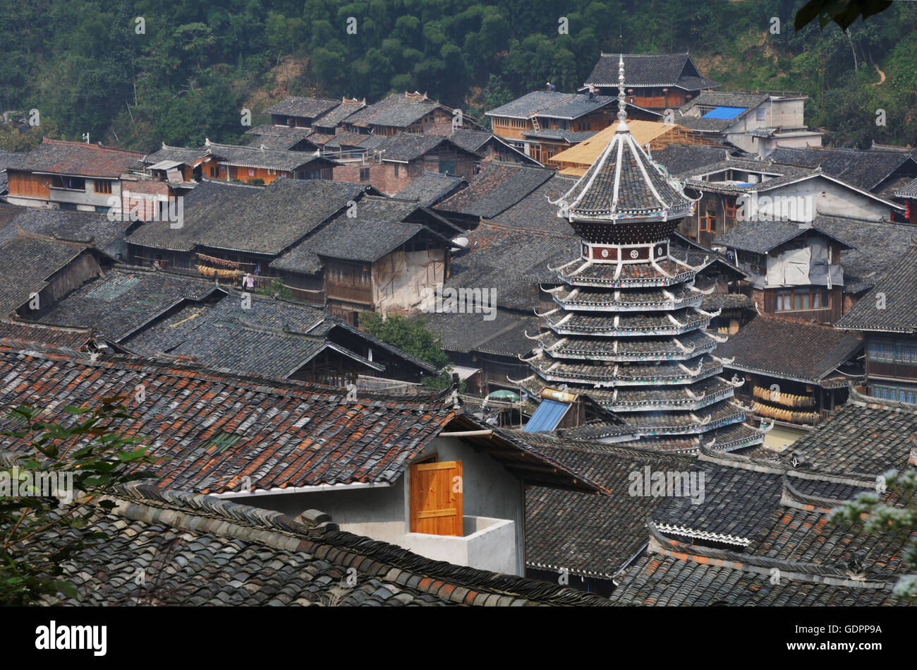 Drum Tower, Zhaoxing, Guizhou, China Stock Photo