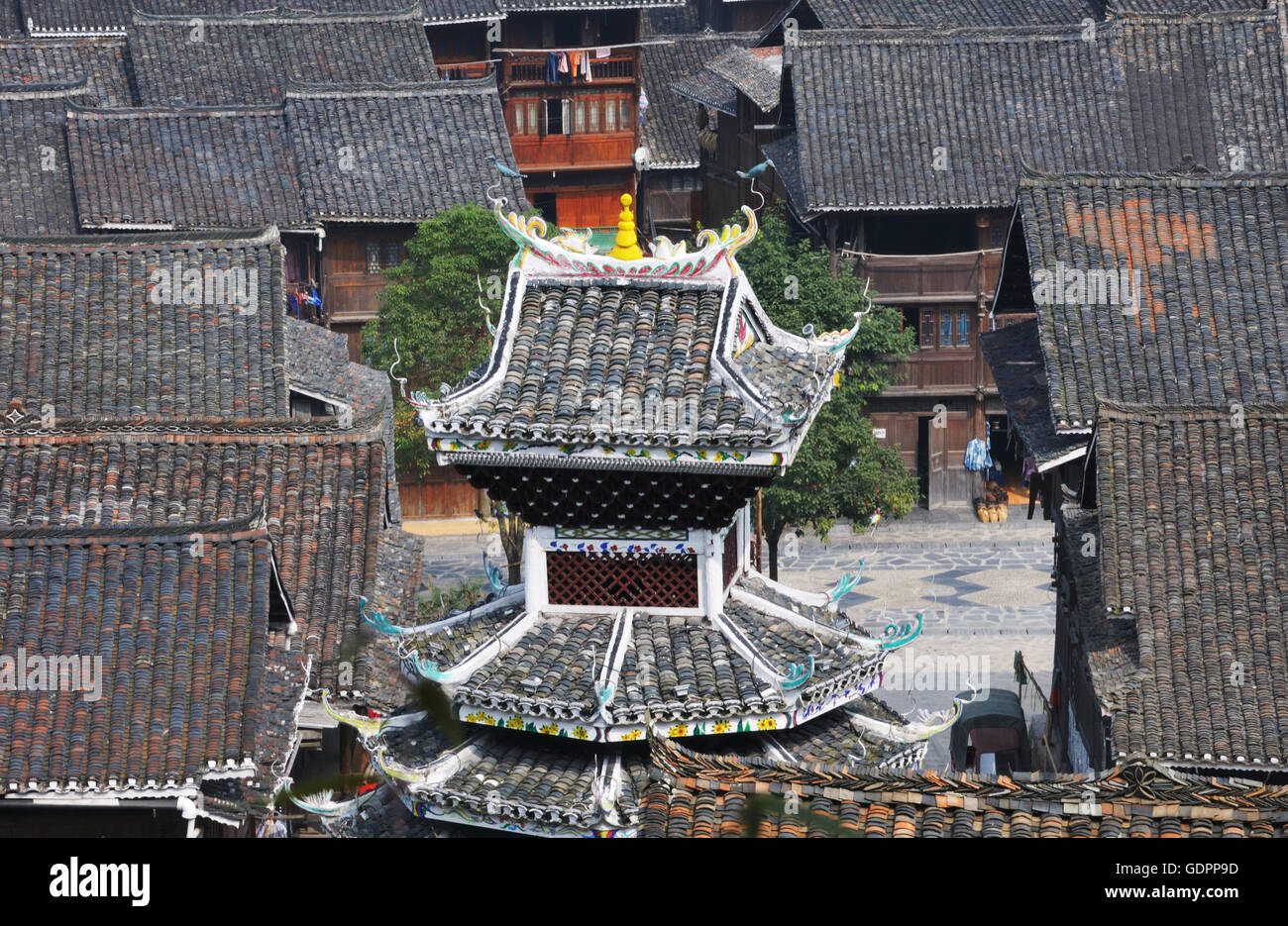 Cap of Drum Tower, Zhaoxing, Guizhou, China Stock Photo