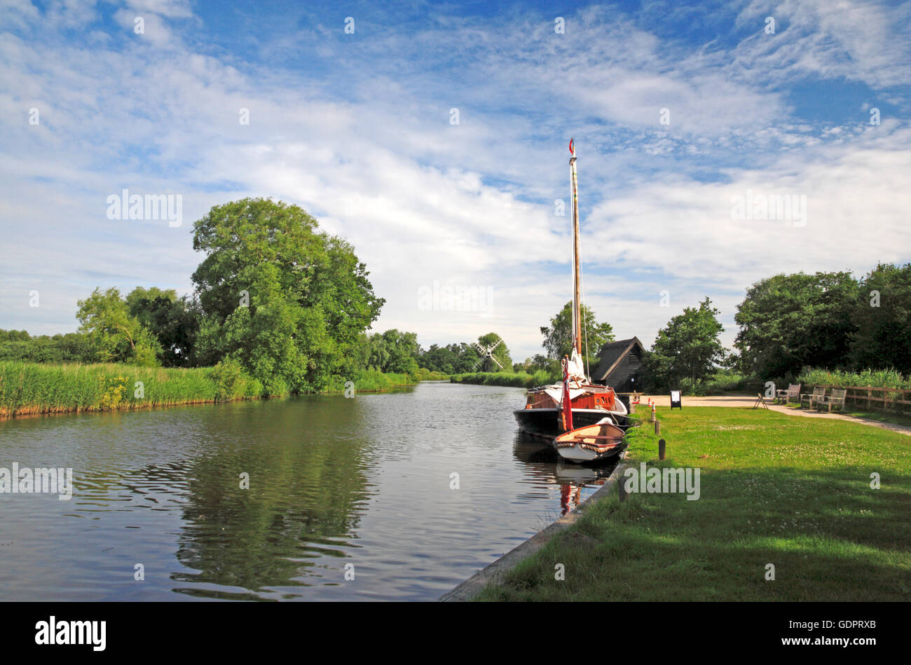 A view of the Norfolk Pleasure Wherry, Hathor, moored on the River Ant at How Hill, Ludham, Norfolk, England, United Stock Photo
