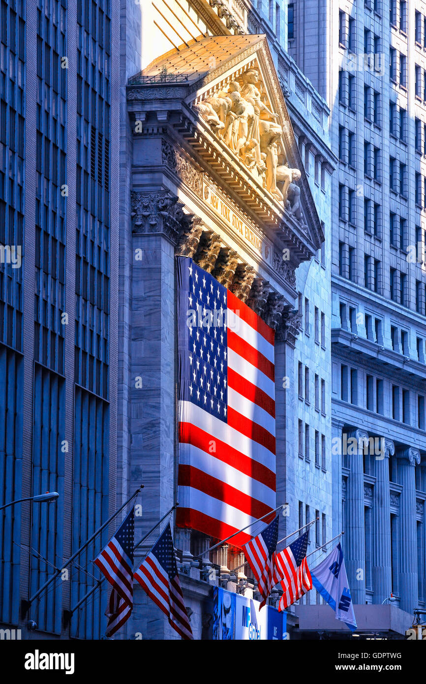 Stock Exchange in Wall street , New York City - Stock Image