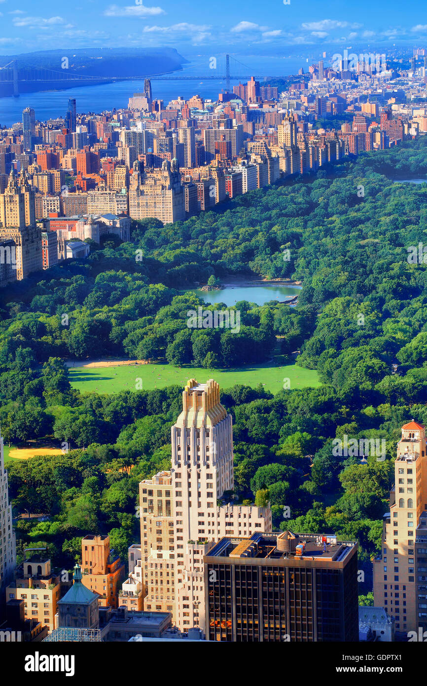 Central Park south in Manhattan, New York City - Stock Image